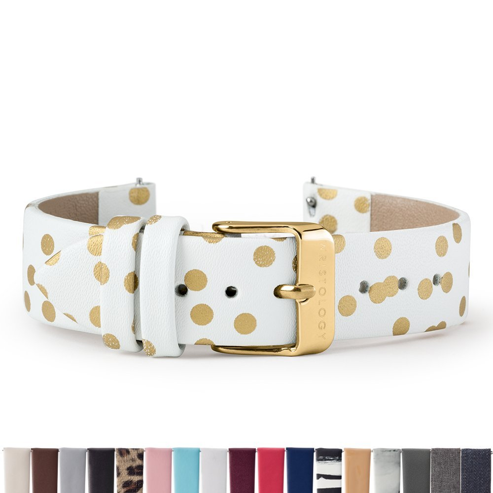 WRISTOLOGY Gold 18mm Womens Easy Interchangeable Watch Band (Gold Dots)