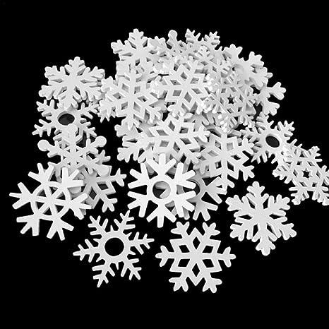 smileyshy Fiocchi di Neve di Natale 50 Pezzi Forma Mista Fiocco di Neve in Legno Bianco Ornamento Natalizio Ciondolo Artigianato Ornamenti Natalizi