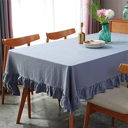 SONGHJ Algodón Lino Ruffles Table Cloth Rectangular Blanco Decorativo de la Boda Cubierta de Tabla Fiesta de cumpleaños Mantel B 140x220cm: Amazon.es: Hogar