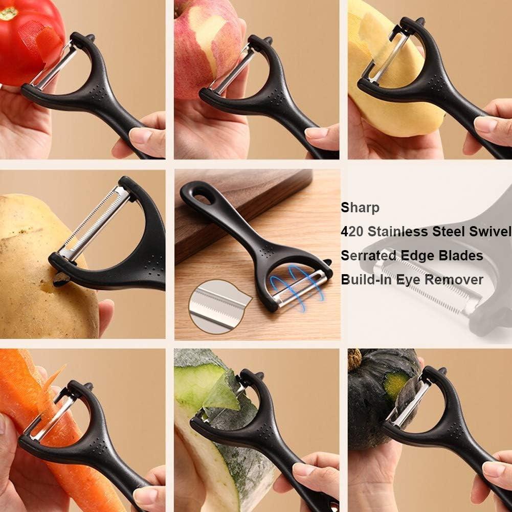 Set of 4 Apple corer tool Swivel Fruit Veggie Peeler set 3-in-1 Avocado Slicer Tool LEONICE Potato Vegetable peeler for Kitchen