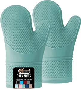 Gorilla Grip Premium Silicone Slip Resistant Oven Mitt Set, Soft Flexible Oven Gloves, Heat Resistant Kitchen Cooking Mitts, Protect Hands from Hot Surfaces, Cookie Sheets, Turquoise Pair, Set of 2