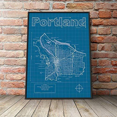 Portland, Oregon Map - Blueprint Style