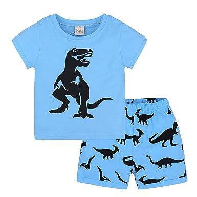 9ecc2e590e 2Pcs Baby Boys Girls Kids Pajamas Home Clothes Dinosaur Print Short Sleeve  Tops Shirts and Shorts