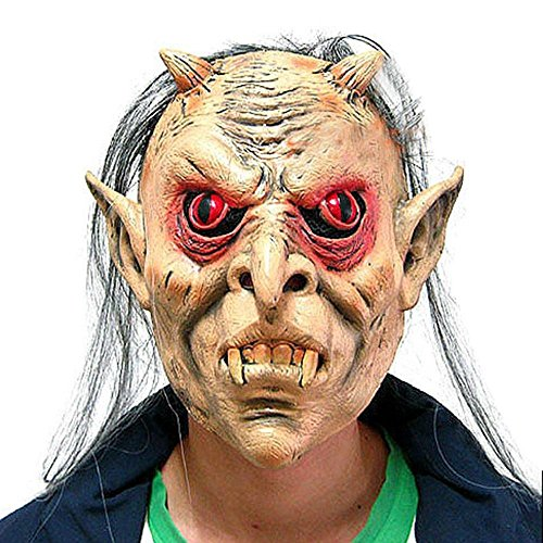 niceEshop(TM) Halloween Scary Mask Latex Horror Grimace Face Monster Head Mask with Red Eyes and Gary Hair for Halloween Costume Party, (Red Eye Mask)