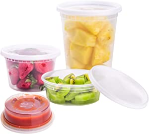TashiBox [8 oz, 16oz, 32oz,48Sets,16Sets each size] Plastic food storage containers with lids airtight, BPA Free, Microwave/Dishwasher/Freezer Safe