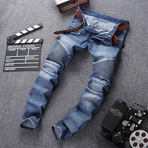 Aiyino Men's Slim Zipper Biker Jeans Moto Denim Pants (US 38, blue)