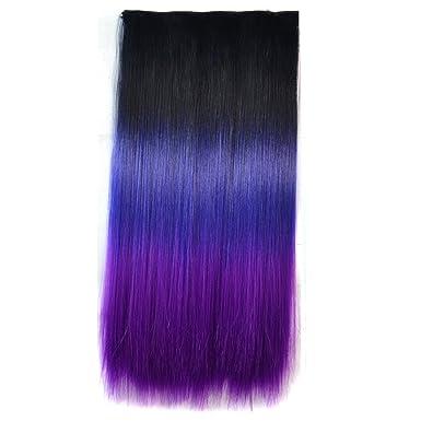 Amazon.com: wigico 24 inch Negro Azul Oscuro A Morado Oscuro ...