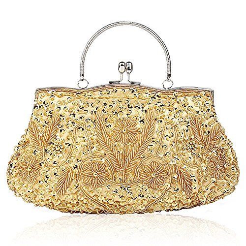Flower Design Bead - EROUGE Beaded Sequin Design Flower Evening Purse Large Clutch Bag (Gold)