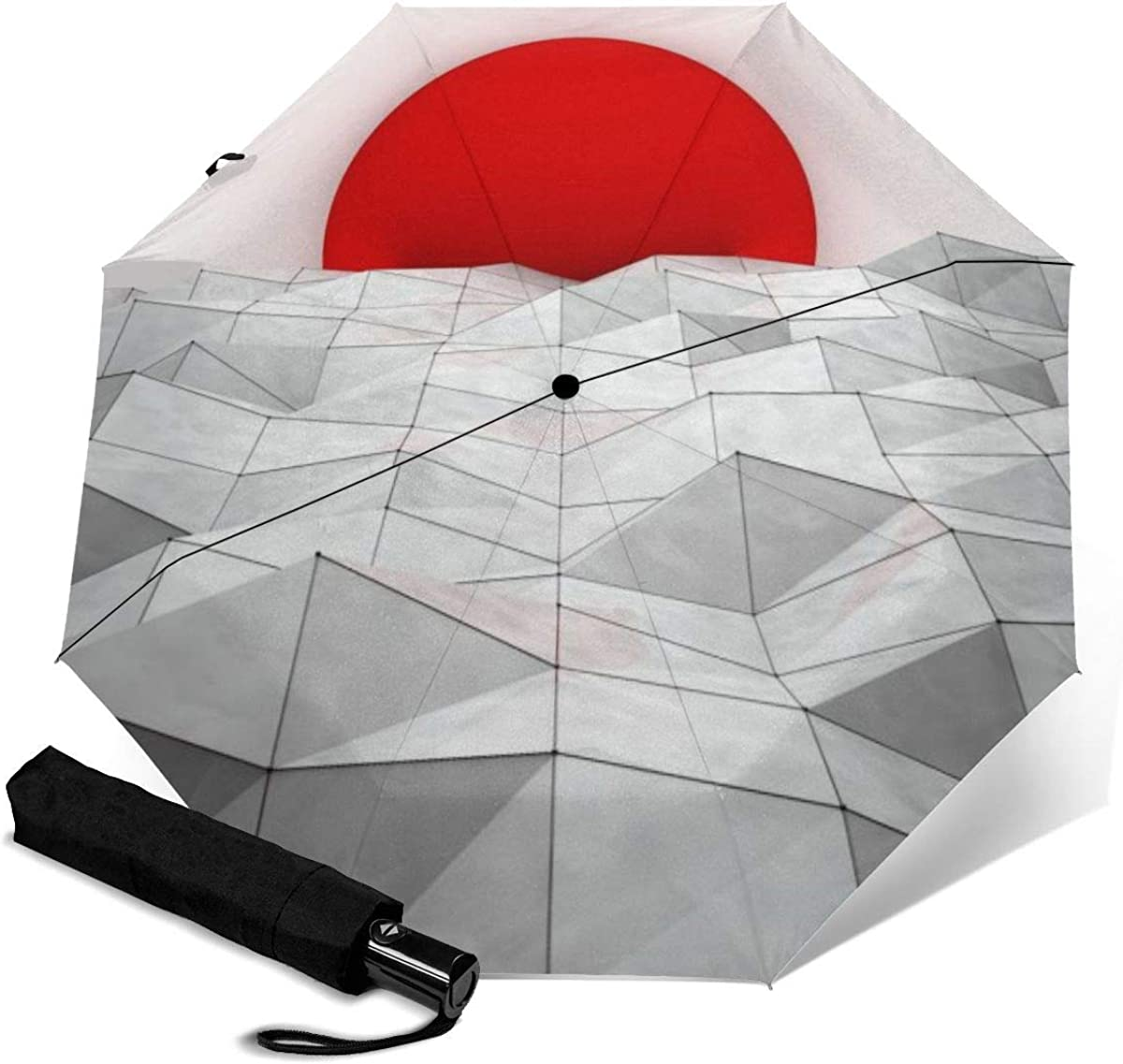 Red Sunset Geometry Compact Travel Umbrella Windproof Reinforced Canopy 8 Ribs Umbrella Auto Open And Close Button Personalized
