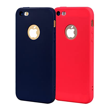 Funda iPhone 5, Carcasa iPhone 5S Silicona Gel, OUJD Mate Case Ultra Delgado TPU Goma Flexible Cover para iPhone 5/SE - Azul + rojo