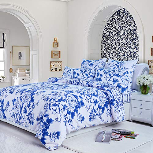 Softta Luxury Blue and White Porcelain Blue Peony Floral Design Full Size 3Pcs(1 Duvet Cover+ 2 Pillowcases/Shams Farmhouse and Paisley Flower Series 800 Thread Count 100% Cotton Bedding Set