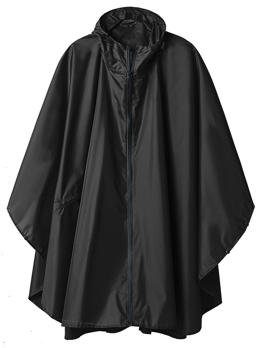 LINENLUX SiYang Rain Poncho Jacket Coat for Adults Ponchos Rain Hooded Waterproof with Zipper Outdoor (Black)
