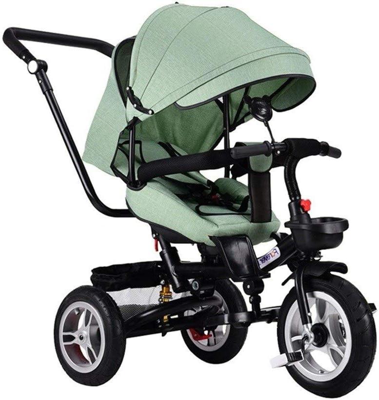 子供三輪車 SONG ベビーカー 横たわっている三輪車 自転車 子供のおもちゃの自転車 1-3-5-6歳のベビーバイク 座って横たわっている 赤ちゃんの誕生日プレゼント (Color : Green)