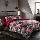 Happy Linen Co Christmas Patchwork Red Double Reversible Duvet Cover Bedding Set