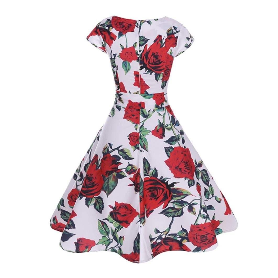 Appoi Women Vintage Fine Rose Print Bodycon Short Sleeve Casual Retro Evening Party Prom Swing Dress for Women Vintage for Party Wedding (Red, XXL)