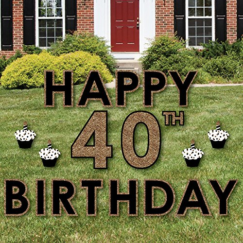 Adult 40th Birthday – Gold – Yard Sign Outdoor Lawn Decorations – Happy Birthday Yard Signs