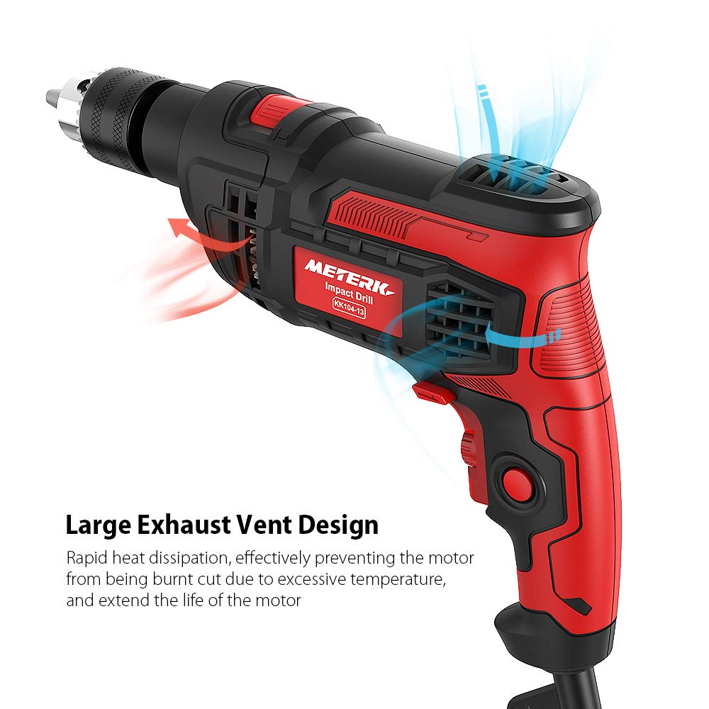 Meterk 7.0 Amp 1/2 Inch Corded Drill 850W, 3000RPM Dual Switch Between Electric Hammer Drill and Impact Drill, With Adjustable Speed for Drilling Wood, Steel, Concrete&Plastic DIY Drilling by Meterk (Image #7)