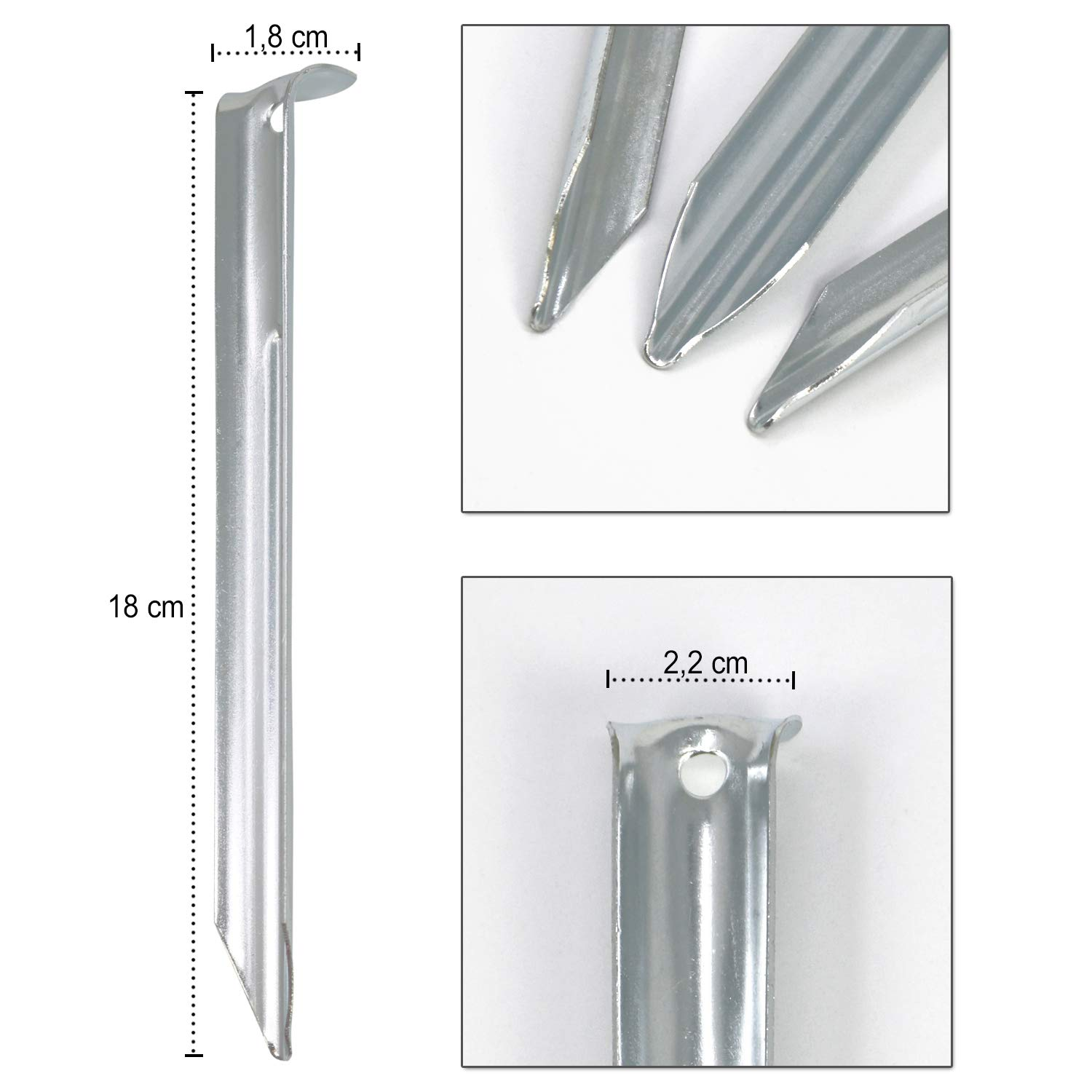 semi-round 180mm - 16 pieces half round COM-FOUR/® 16x steel tent pegs ideal for normal ground robust pegs for camping and outdoor