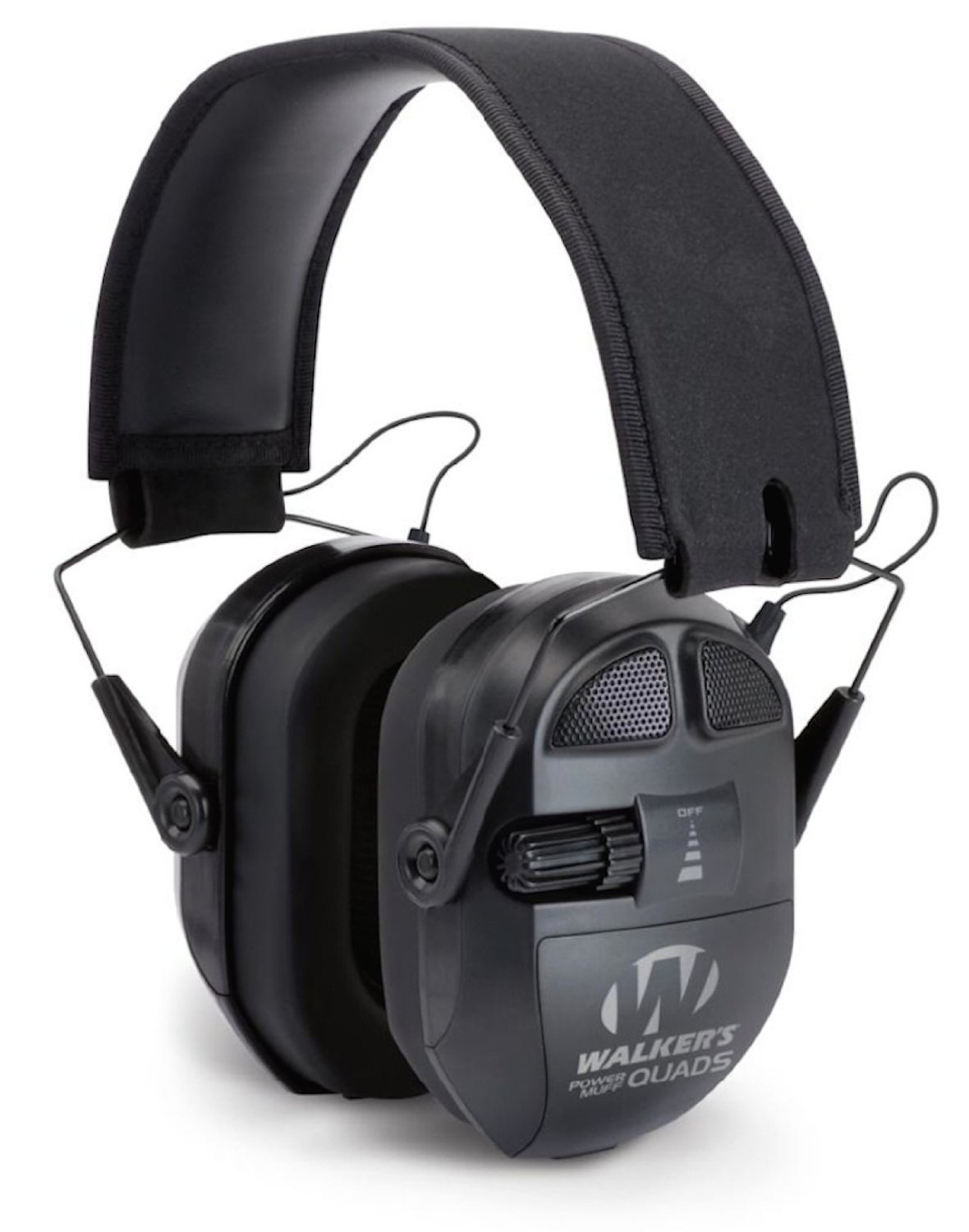 Black GSM Outdoors GWP-XPMQB Walkers Game Ear Ultimate Power Muff Quads with Adjustable Frequency Tuning//Electric