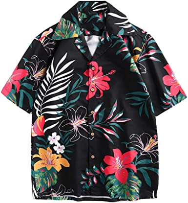 Casual Short Sleeve Hawaiian Aloha Button Down Flower Relaxed Shirts for Men