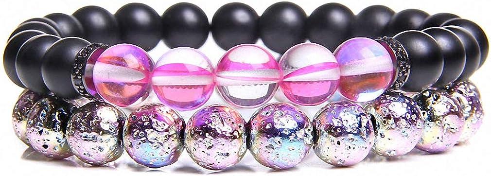Hynsin 2 Pieces Couple Bracelets for Women Electroplate Rainbow Cracked Crystal Beads Bracelets Men Matte Blue Moonstone Bangle