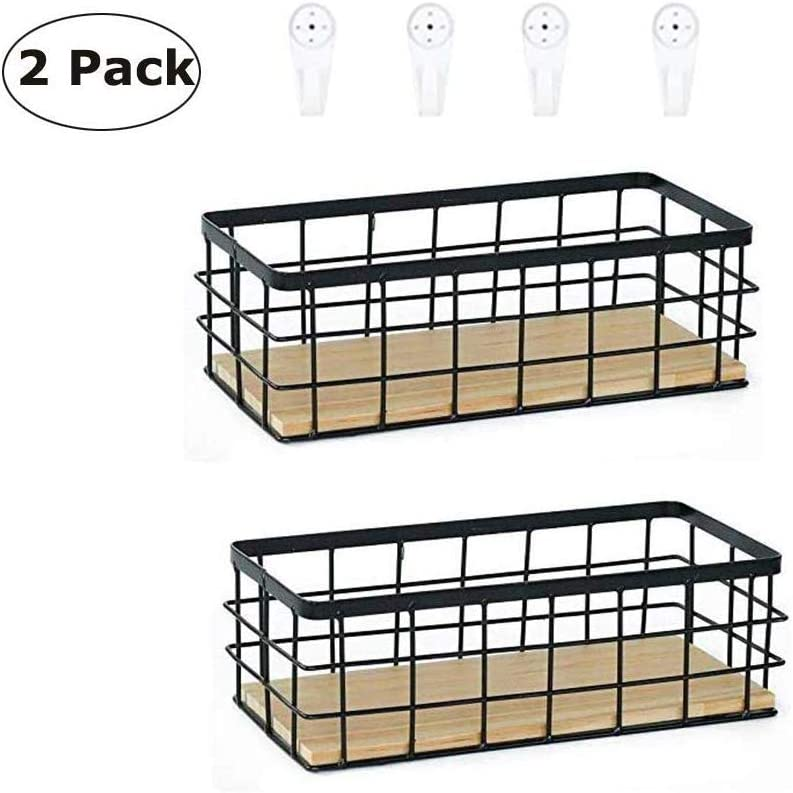 Cratone Metal Basket with Wooden Base Black Storage Basket Simple Nordic Bread Container Baskets Wire Utility Basket