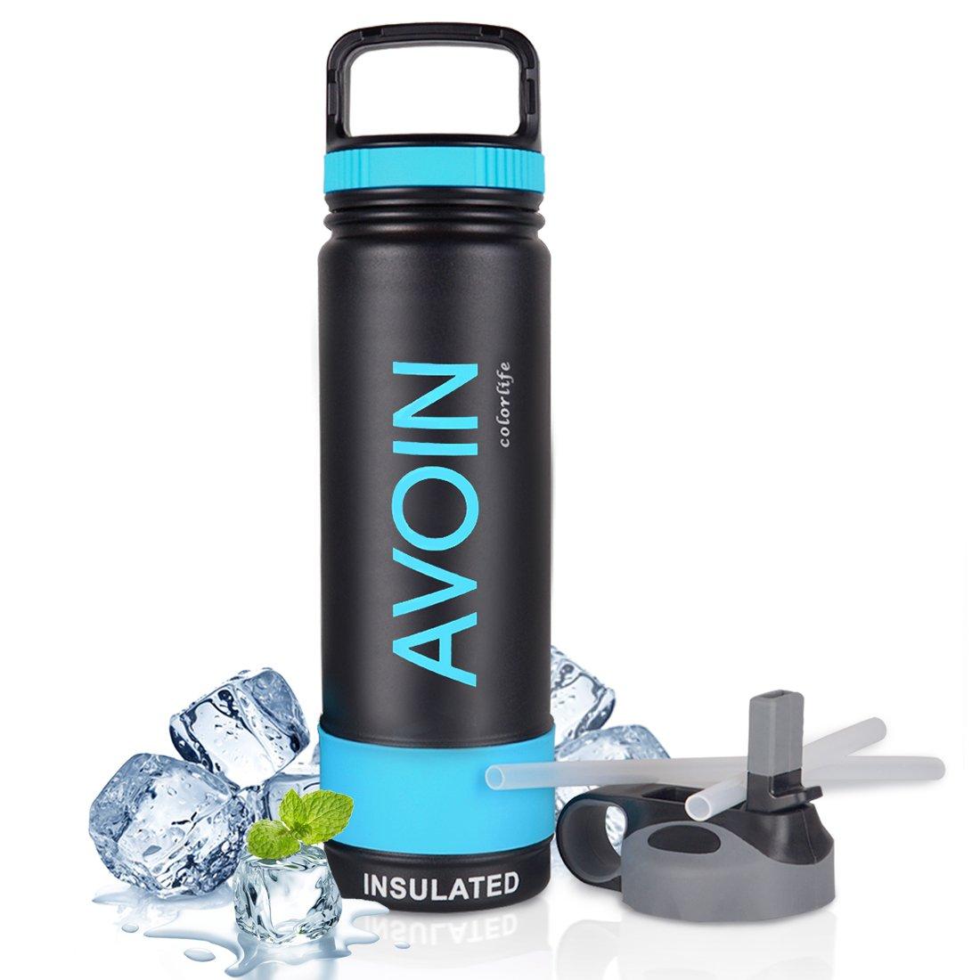 AVOIN colorlife 650ml Edelstahl Wasserflasche + 2 Trinkverschlüsse ...
