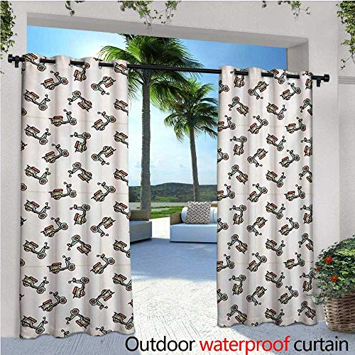 homehot Motorcycle Indoor/Outdoor Single Panel Print Window Curtain Retro Style Hand Drawn Deep Deck Scooters Leather Seat Silver Grommet Top Drape W96 x L96 Almond Green Pale Caramel ()
