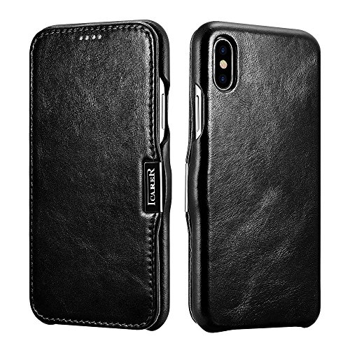 icarercase iPhone X Leather Case, Genuine Vintage Leather Side Open Case in Slim Thin Design, Flip Folio Style Cover with Magnetic Closure for Apple iPhone 10 5.8 Inch - Black