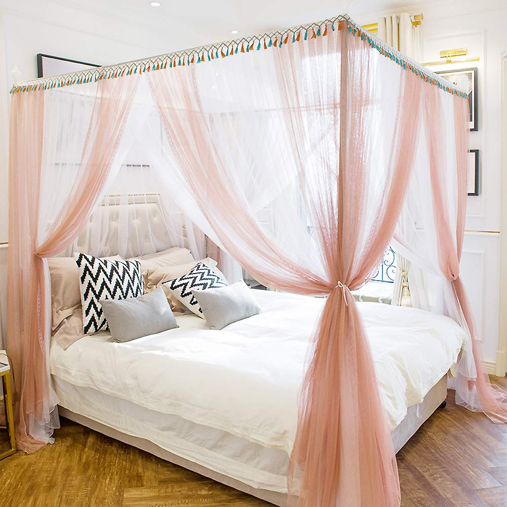 superior quality release date best value Amazon.com: ASDFGH Encryption Princess Bed Canopy, 4 Corners ...