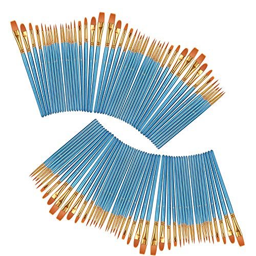 heartybay Professional Paints Brushes Set 10 Pcs, Nylon Hair Brush Sets Acrylic Blue Round Pointed Paint Bristle for Watercolor Oil Painting & Gouache Art, Perfect for Kids, Beginner and Artist from heartybay