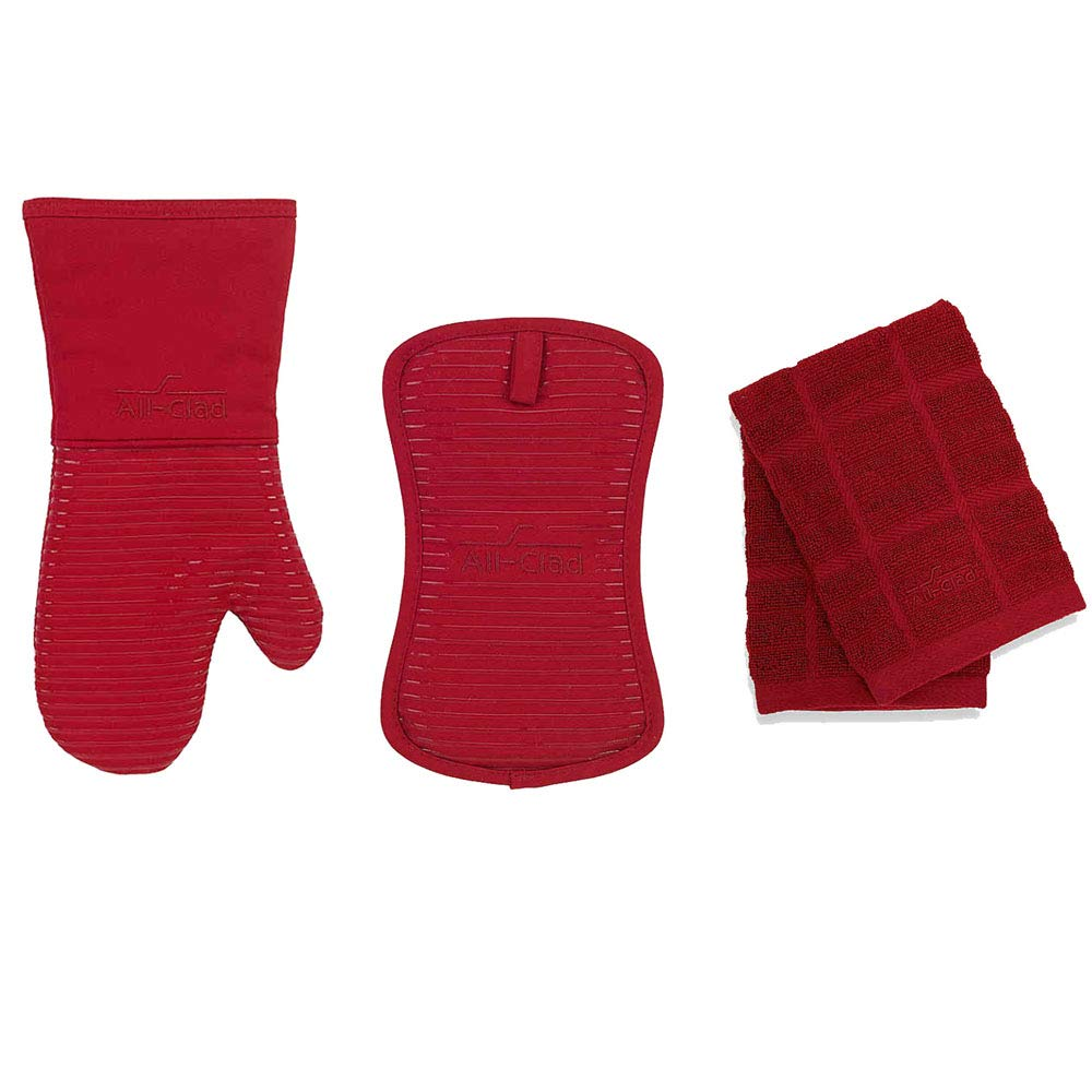 All-Clad Silicone Oven Mitt and Silicone Pot Holder Bundle with 2 Set of Solid Dish Cloths - Chili