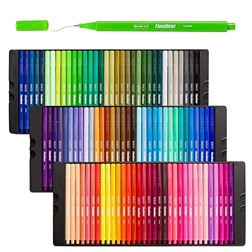 Shuttle Art Fineliner Pens, 100 Colors 0.4mm Fineliner Color Pen Set Fine Line Drawing Pen Fine Point Markers Perfect for Adult Coloring Books Drawing and Bullet Journal Art Projects by Shuttle Art