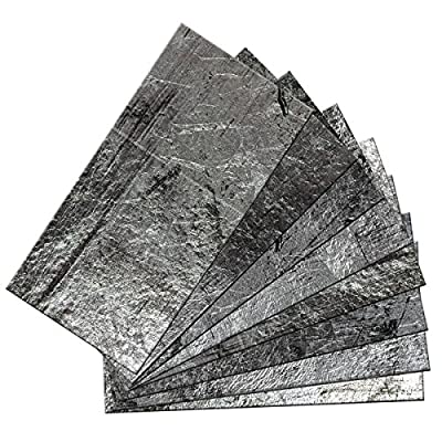 """SkinnyTile 04401 Peel and Stick Steel Plate Shades 6 in. x 3 in. Glass Wall Tile (48-Pack), 6"""" x 3"""""""