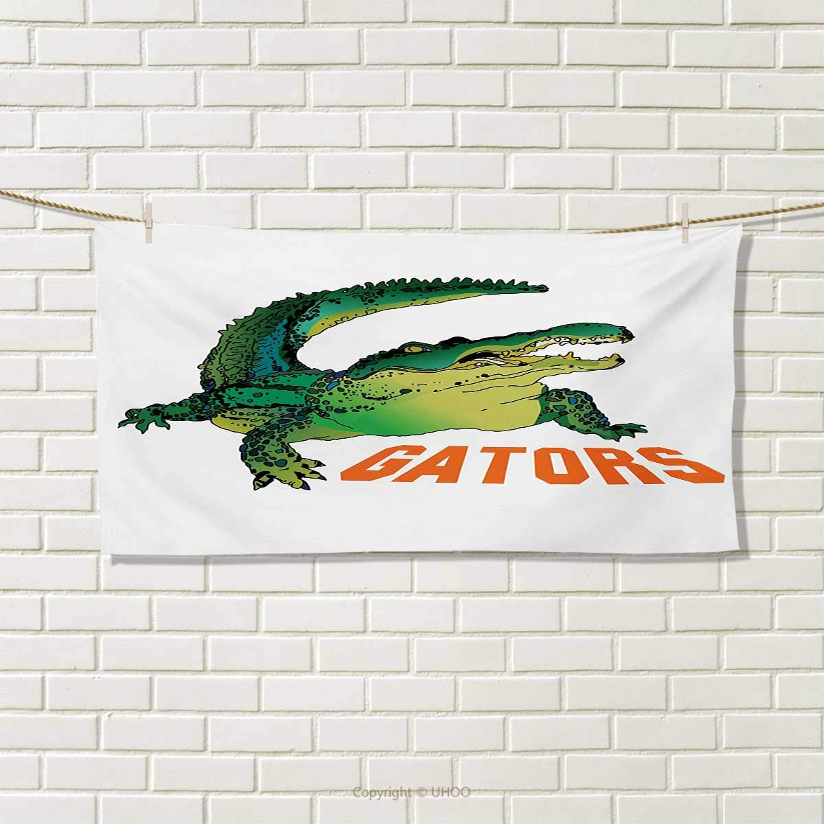 Chaneyhouse Reptile,Hand Towel,Grumpy Alligator Has a Word Gator Crocodile Humor Wild Life Safari Aquatic,Quick-Dry Towels,Green Orange White Size: W 20'' x L 20''