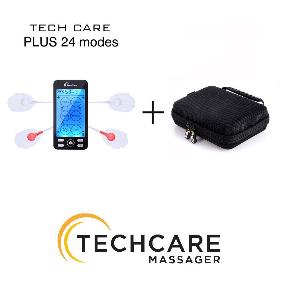 Tens Unit TechCare Plus 24 Massage Modes [Lifetime Warranty] Muscle Stimulator Device Machine Pulse Massager with Protective Cover Case Sciatica Plantar Fasciitis Tennis Elbow Back Shoulder Neck