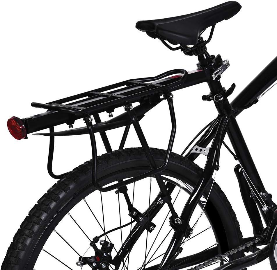 Aluminio, portaequipajes Trasero Bicicleta Rack Universal con Reflector Rojo Soporte Equipaje Transporter Accesorio de Ciclismo Zerone portaequipajes Trasero para Bicicleta