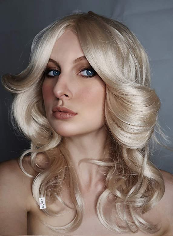 ALLAURA 70s Costumes Wig Women Blonde Feathered Wigs Disco Costume for 70s Big Blond Hair