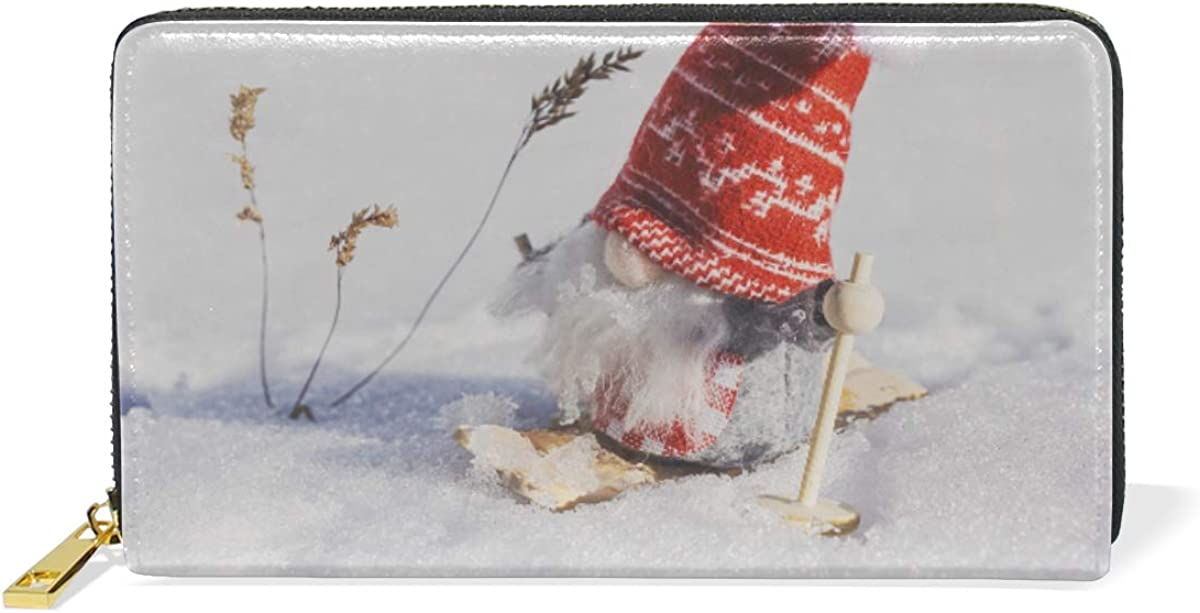 CLveg Leather Wallet Card Clutch Purse for Women for Men Genuine Leather Santa Claus In The Snow