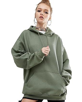 032a1bd930045 ZKOO Femmes Loose Pull à Capuche Hoodie Sweat-Shirt Automne Hiver Sweats à Capuche  Sweatshirt