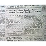 MABEL SMITH DOUGLASS Residential College Dean Lake Placid DROWNING1933 Newspaper THE NEW YORK TIMES, September...