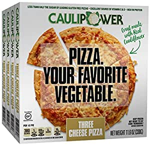 CAULIPOWER Three Cheese Cauliflower Crust Pizzas, Gluten Free, Non-GMO, Lower Carb (4 Pack)