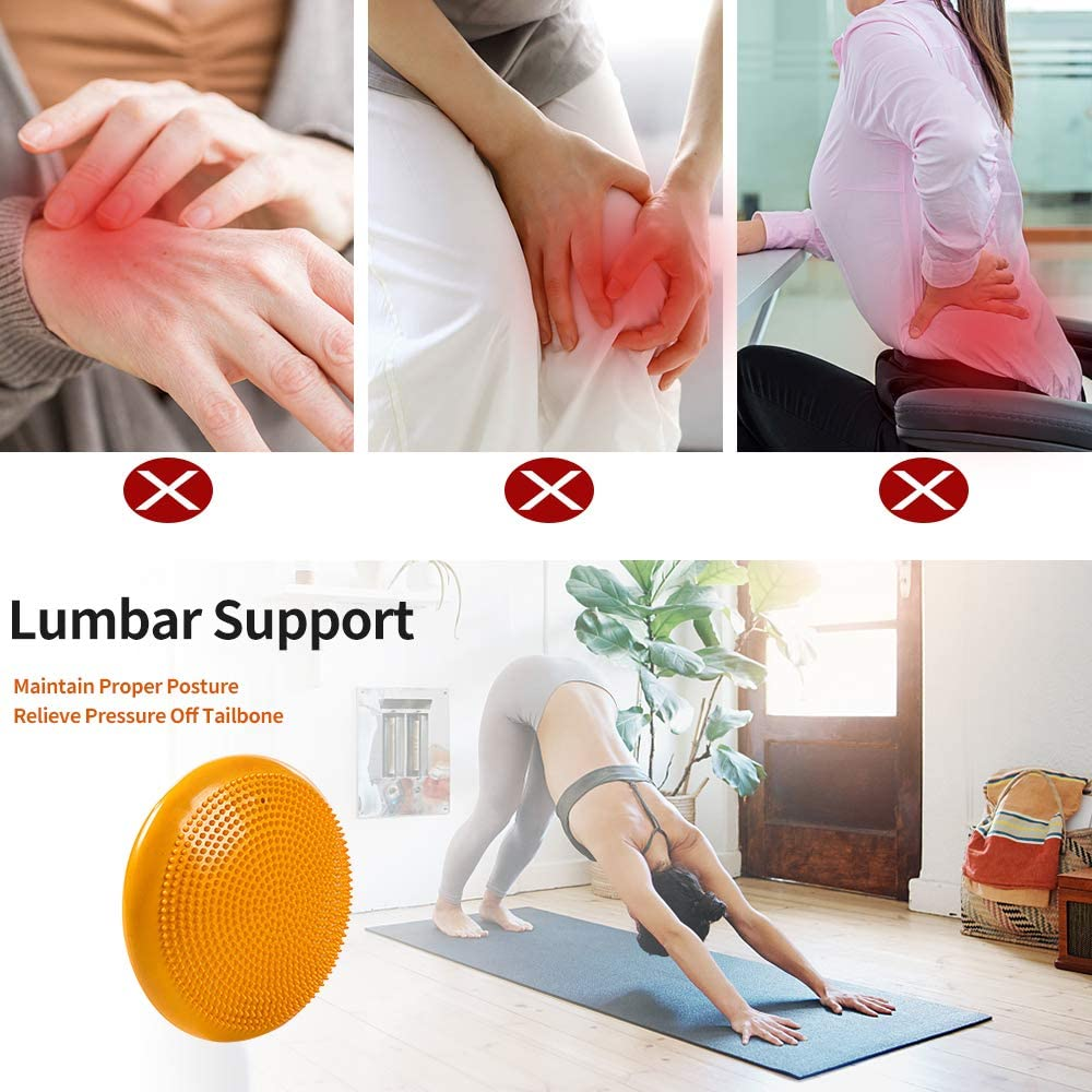 Tonsooze Coj/ín de Equilibrio Entrenamiento y Ejercicio F/ísico Cojines Equilibrio Bomba Colchoneta para Yoga Tablero de Estabilidad 33cm para Fitness Yoga Balance Disc Pilates