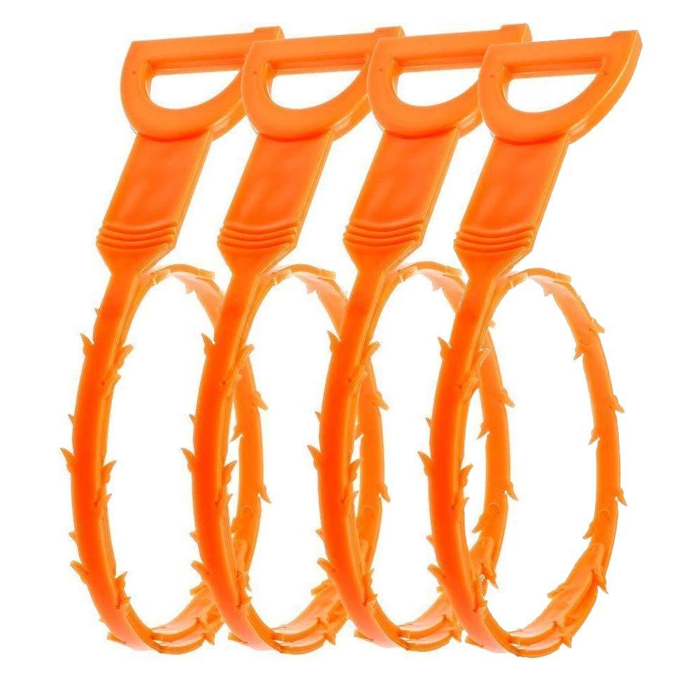 Angker Spirale sturalavandino, per rimuovere i capelli e pulire il tubo di scarico, confezione da 4 pezzi, colore giallo