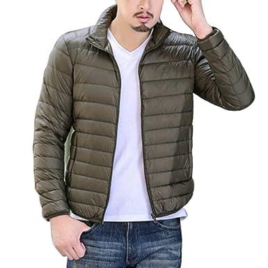 Vertvie Herren Ultraleichte Wattierte Jacke Steppjacke Winterjacke  Übergangs Jacke mit Stehkragen (XL, Armeegrün) d9e3c497da