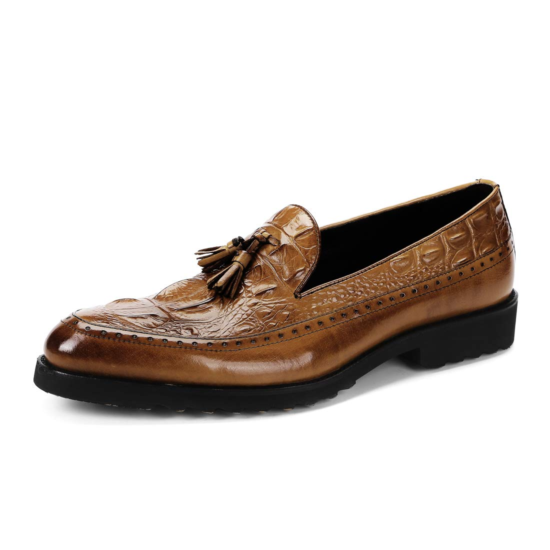 Brown Fashion Genuine Leather Formal Dress Boat Pointed shoes Pattern shoes Men for Crocodile Loafers Classic Tassel