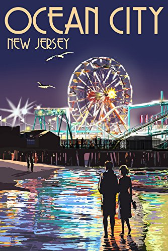- Ocean City, New Jersey - Pier and Rides at Night (9x12 Art Print, Wall Decor Travel Poster)