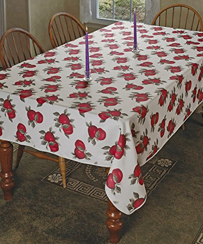 "Violet Linen VL-68852-EURO-APPLES-3 Classic Euro Large Apples Design Tablecloth, 60"""