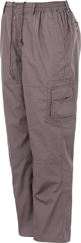 Mens Rugby Style Trousers Polyester Cotton Fully Elasticated Waist Cargo Combat