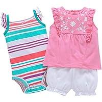 Bebé Niñas Vestido de Manga Corta + Pantalones Cortos + Body, 3 Piezas Conjuntos de Ropa
